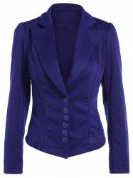 Asymmetric Lapel Single Breasted Blazer - BLUE L