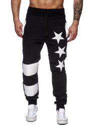 Star Printed Spliced Drawstring Waist Jogger Pants - BLACK