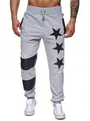 Star Printed Spliced Drawstring Waist Jogger Pants - LIGHT GRAY