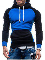 Raglan Sleeve Color Block Kangaroo Pocket Hoodie