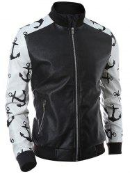 Stand Collar Zip-Up Printed Spliced PU Jacket -