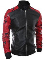 Stand Collar Zip-Up Printed Spliced PU Jacket - RED