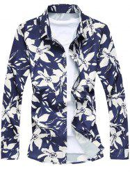 Single-Breasted Long Sleeve Floral Shirt - CADETBLUE 2XL