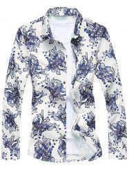 Buttoned Sequins Floral Long Sleeve Shirt - COLORMIX