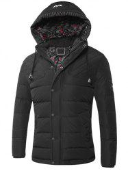 Drawstring Hooded Zip-Up Snap-Fastener Quilted Jacket