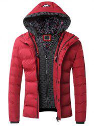 Faux Twinset Zipper Hooded Quilted Jacket - RED 2XL