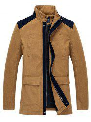 Stand Collar Zip-Up Color Splicing Jacket -