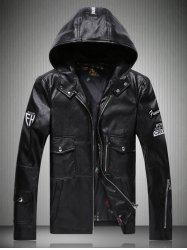 Patch Design Multi-Pocket Zippered Hooded Faux Leather Jacket -