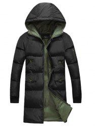 Multi-Pocket Zippered Rib Cuff Hooded Padded Coat