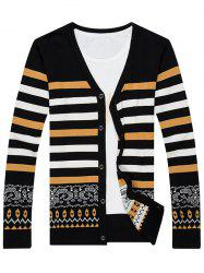 Single Breasted Color Block Stripe Splicing Fitted Cardigan -