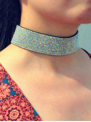 Rhinestone Faux Leather Wide Choker