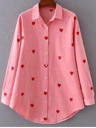 Heart Pattern Embroidered Corduroy Button Up Shirt -