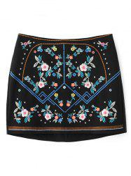 Floral Embroidered Mini Skirt -