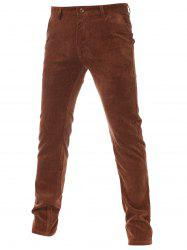 Flocking Lining Zipper Fly Plain Corduroy Pants -