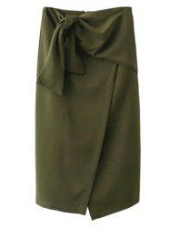 Tied Front Slit Asymmetric Skirt