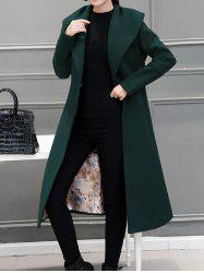 Wool Blend Maxi Long Shawl Collar Belted Coat