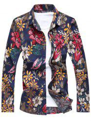 Buttoned Floral Printing Long Sleeve Casual Shirt - RED