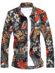 Buttoned Floral Printing Long Sleeve Casual Shirt