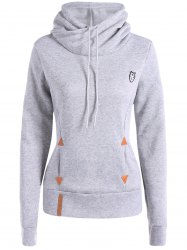 Patched Casual Hoodie - LIGHT GRAY 3XL