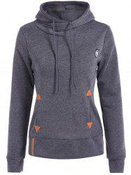 Patched Casual Hoodie - DEEP GRAY M