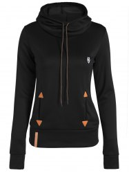 Patched Casual Hoodie - BLACK L
