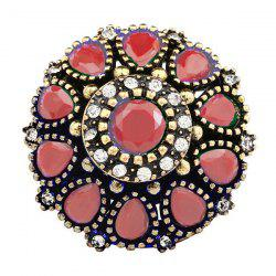 Enamel Water Drop Rhinestone Geometric Ring - RED 20