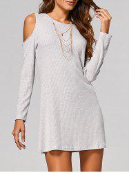 Cut Out Ribbed Casual Tunic Jumper Dress - LIGHT GRAY