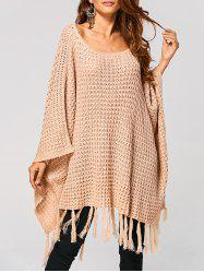 Hollow Out Tassels Handkerchief Cape Sweater -