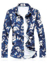 Plus Size Flower Leaves Print Long Sleeve Shirt