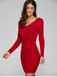 Tight Short Knit Long Sleeved Surplice Dress - RED