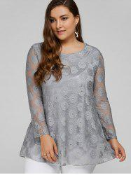 Plus Size Lace Tunic Top - GRAY