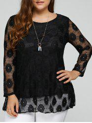 Plus Size Lace Tunic Top - BLACK