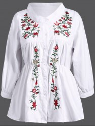 Stand Collar Plant Embroidery Elastic Waist Blouse - WHITE 3XL