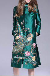 Peacock Embroidered Single Breasted Coat -