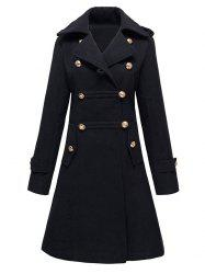Double-Breasted Woolen Long Coat - BLACK