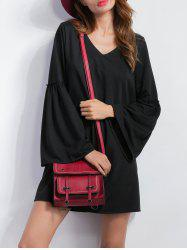 V Neck Bell Sleeve Shift Mini Dress