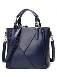Zippers Buckles PU Leather Tote Bag -