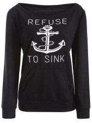 Pockets Printed Loose Sweatshirt - BLACK M