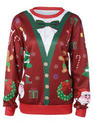Pullover 3D Christmas Print Sweatshirt - RED AND GREEN