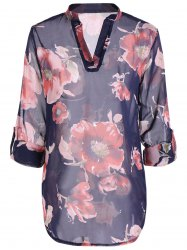 Floral High-Low Slit Shirt - Bleu Violet