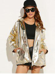 Punk Hooded Metallic Jacket - GOLDEN
