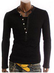 Long Sleeve Half Button Embellished T-Shirt - BLACK