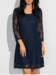 Scoop Neck Three Quarter Sleeve Lace Dress -