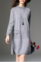 Slit Knitted Long Sleeve Dress with Pockets - GRAY