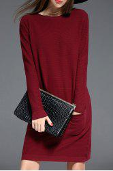 Ribbed Long Sleeve Sweater Dress with Pocket - CLARET