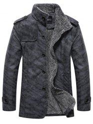 Stand Collar Single-Breasted Epaulet Embellished Jacket - DEEP GRAY XL