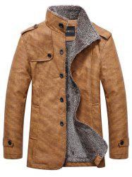 Stand Collar Single-Breasted Epaulet Embellished Jacket - KHAKI 2XL