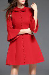 Bow collier de Bell Robe manches Bas - Rouge S