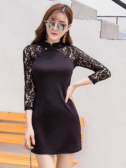 Discount Lace Spliced Ethnic Bodycon Dress