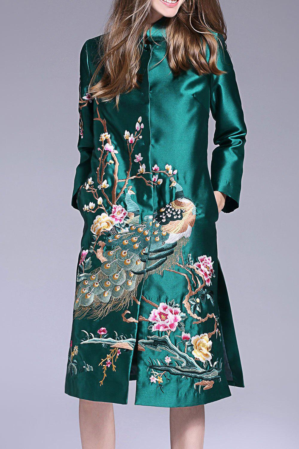 Buy Peacock Embroidered Single Breasted Coat